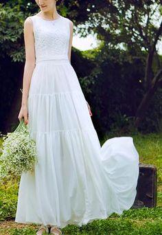 Lace Top Chiffon Dress- by EMS