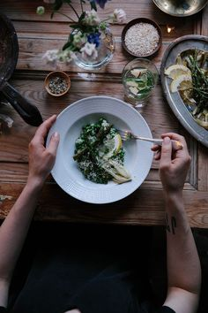 Our Food Stories // Vegan Coconut-Milk-Peas-Risotto with green Asparagus and roasted Fennel