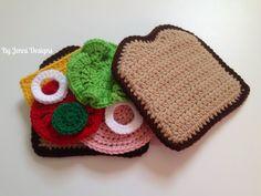 Crochet Toys Design By Jenni Designs: Crochet Amigurumi Bologna Sandwich Play Set, free pattern Crochet Fruit, Crochet Food, Crochet Gifts, Cute Crochet, Crochet For Kids, Crochet Yarn, Baby Blanket Crochet, Crochet Patterns Amigurumi, Crochet Dolls