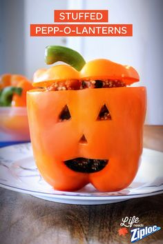 A healthy Halloween recipe that's not packed with sugar and fat (spooky, right?). These stuffed peppers make a great Halloween recipe for kids (plus October is National Vegetarian month!). Fill with quinoa, corn, rice – even veggie chili. Mix filling in a Ziploc® bag, then cut off the corner to fill your Stuffed Pepp-O-Lanterns with ease!