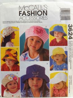 5a23f5a1c50 McCall s 3624 Fashion Accessories - Hats. Hat Patterns To SewSewing ...