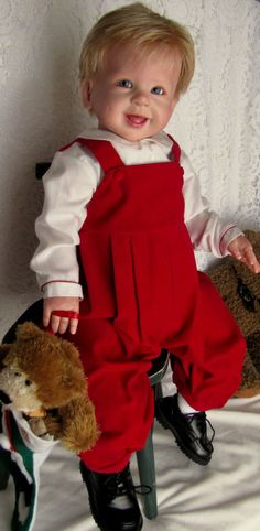 "Nancy's Lil Darling Jette by Regina Swialkowski 30"" Toddler Sitting Boy Reborn #ReginaSwialkowski"