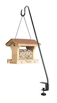 Easily clamps to your deck to hang bird feeders, flower baskets and more.  We love these on our deck.