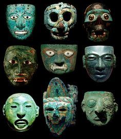 Pre-Columbian Masks. [Central/South America, apparently various media - stone, metal, ceramic. JE]