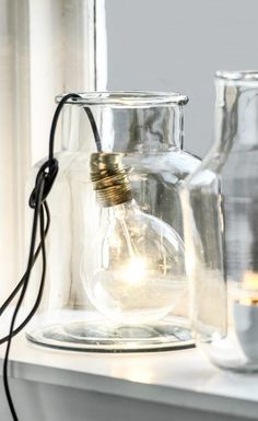 Bulb lamp in a glass jar Interior Natural, Diy Interior, Interior Styling, Interior Decorating, Home And Deco, My New Room, Home Lighting, Lighting Stores, Glass Jars