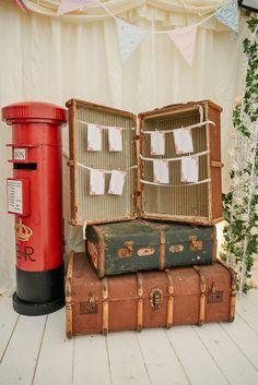 vintage luggage table plan idea Unique Weddings, Real Weddings, Wedding Table, Rustic Wedding, English Country Weddings, Personalised Christmas Baubles, Carnival Wedding, Fun Fair, Wedding Breakfast