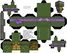Blog Paper Toy papertoys Cubeecraft Tortues Ninja Donatello Papertoys Tortues Ninja (x 5)