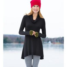 Soft sleek women's cowl neck tunic: an everyday fashion essential Warm Outfits, Winter Outfits, Cuddle Duds, Cozy Fashion, Fashion Essentials, Tunic Sweater, Everyday Fashion, Tunic Tops, My Style