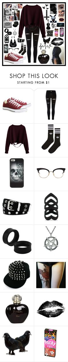 """""""Tumblr Aesthetic"""" by gothiclullaby on Polyvore featuring Converse, River Island, adidas, Metal Mulisha, Thom Browne, Relic, Christian Dior, Masquerade, GURU and Hot Topic"""
