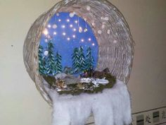 Kerstdorpje in rieten mand