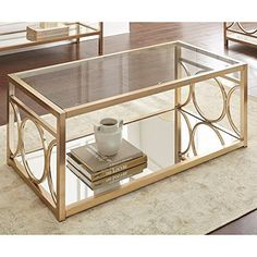 Steve Silver Olympia Glass Top Coffee Table in Gold Chrom