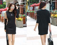 Đầm thun tay dài đen phối nâu - A6624 - Chất liệu : cotton dày - Màu sắc: như hình - Kích thước: S/M/L/XL