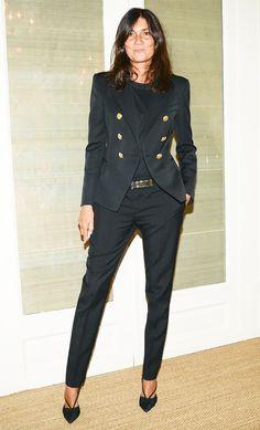 Emmanuelle Alt in a black blazer + black tee + black slouchy trousers + black heels