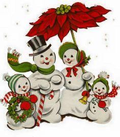 Vintage Snow Family Clip Art Christmas FabricChristmas SnowmanChristmas