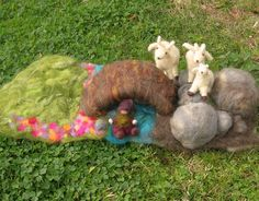 Made to Order - Three Billy Goats Gruff - Waldorf-Inspired Needle Felted wool playscape. $225,00, via Etsy.