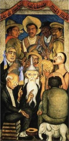 The Learned by Diego Rivera (Dec 8, 1886 – Nov 24, 1957) Prominent Mexican painter & husband of Frida Kahlo. His large wall works in fresco helped establish the Mexican Mural Movement in Mexican art. http://www.wikipaintings.org/en/diego-rivera/the-learned-1928