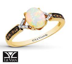 Jared - LeVian Opal Ring 1/8 ct tw Diamonds 14K Honey Gold