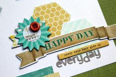 "Detail from ""Happy Day"" home decor made with scrapbook supplies by Piradee Talvanna for Creating Keepsakes magazine. #scrapbook #scrapbooking #creatingkeepsakes"