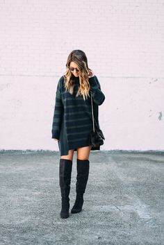 Perfect Thanksgiving Outfit Under $50 - oversize sweater dress and over the knee boots - www.thefashionhour.com