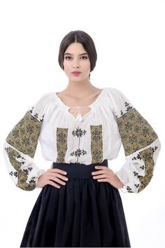 Little more formal way to wear peasant shirt Folk Fashion, Ethnic Fashion, Womens Fashion, Ukraine, Popular Costumes, Mode Alternative, Ukrainian Dress, Embroidered Clothes, Embroidered Blouse