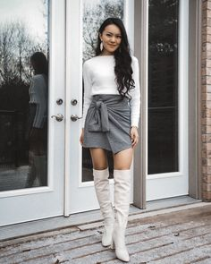white sweater, grey houndstooth skirt, white leather boots White Leather Boots, Houndstooth Skirt, White Sweaters, Knee Boots, Leather Skirt, Personal Style, My Style, Grey, Skirts