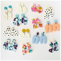 Polymer Clay Creations, Polymer Clay Crafts, Polymer Clay Jewelry, Handmade Polymer Clay, Clay Beads, Diy Clay Earrings, Dangle Earrings, Cute Clay, Clay Design