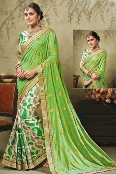 Green and Grey brasso and art silk printed saree with grey blouse http://www.andaazfashion.com/womens/sarees/