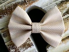 Tan with White Polka Dots Fabric Hair Bow by ForMyDaughter114