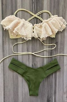 Spliced Sexy Lace Crochet Spaghetti Strap Hollow Out Bikini Set #Sexy #Lace #Crochet #Hollow_Out #Army #Green #Khaki #Bikini #Swimwear #Boho #Beach #Fashion