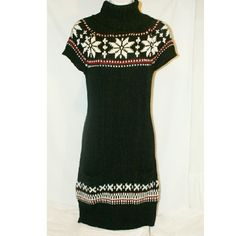 Black sweater dress with snowflakes I'm excellent condition worn twice.. It has two pockets in the front but you can't see them. Brand: demanding Gear with leggings and a cardigan paired with riding boots in the winter, or heels with pantyhose. Dresses