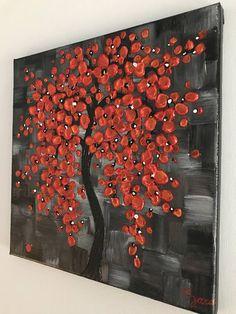 Red tree painting original modern artwork textured black white