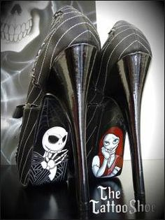 Art Jack and Sally-Nightmare Before Christmas Custom Heels sexy-shoes Sally Nightmare Before Christmas, Cute Shoes, Me Too Shoes, Ugly Shoes, Christmas Shoes, Christmas Lingerie, Christmas Leggings, Christmas Gifts, Jack And Sally