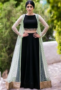 Shop Prathyusha Garimella Mint embellished jacket with black crop top & lehenga , Exclusive Indian Designer Latest Collections Available at Aza Fashions Shrug For Dresses, Indian Gowns Dresses, Indian Fashion Dresses, Indian Designer Outfits, The Dress, Stylish Dress Designs, Designs For Dresses, Stylish Dresses, Indian Wedding Outfits