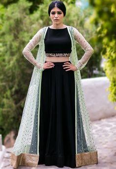 Shop Prathyusha Garimella Mint embellished jacket with black crop top & lehenga , Exclusive Indian Designer Latest Collections Available at Aza Fashions Indian Fashion Dresses, Indian Gowns Dresses, Dress Indian Style, Indian Designer Outfits, Indian Skirt, Indian Wear, Stylish Dress Designs, Designs For Dresses, Stylish Dresses