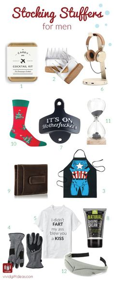 Fun and cool Stocking Stuffer Ideas For Men. Best Christmas gifts for him. Fill his Christmas stocking with something cool and fun. Get 12 unique stocking stuffer ideas for men here. These are what men really want for Christmas. Top 5 Christmas Gifts, Christmas Presents For Him, Christmas Stockings, Holiday Gifts, Christmas Ideas, Stocking Stuffers For Teens, Christmas Stocking Stuffers, Diy Gifts For Him, Diy Gifts For Boyfriend