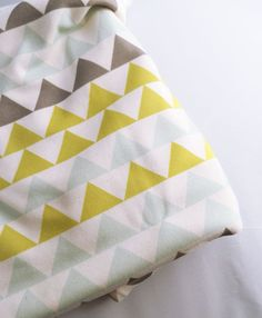 Baby Blanket, Geometric Triangles, Neon and Seafoam, Modern Organic Baby Bedding