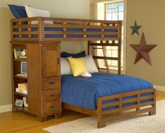 Bunk beds are a great option for small bedrooms as it saves on floor space. design can be modified easily for twin over queen bunk beds as well. A quirky L-shape could give a quirky dimension to your bedroom décor. Queen Bunk Beds, Loft Bunk Beds, Bunk Beds With Storage, Modern Bunk Beds, Bunk Beds With Stairs, Full Bunk Beds, Kids Bunk Beds, Cool Teen Rooms, L Shaped Bunk Beds
