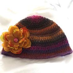 Crochet Wool Hat Ladies Teens Orange Brown Purple Winter Outdoor... ($26) ❤ liked on Polyvore featuring accessories, hats, crochet cap, purple hat, crochet flower hat, cap hats and woolen caps