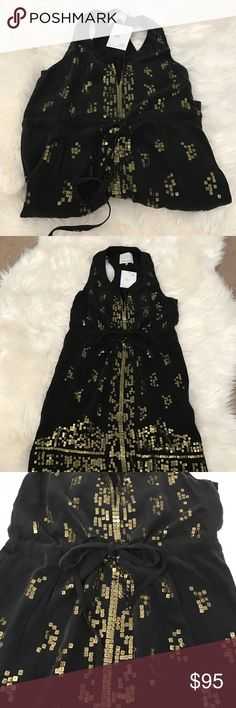 Madison Marcus Silk Dress Madison Marcus Silk Dress.  Gold sequin details, drawstring and pockets.  Brand new with tags. madison marcus Dresses Midi
