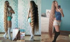 Woman shows off her long hair after growing it for 13 years