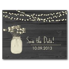Mason Jar and String of Lights Save the Date