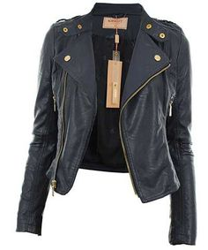 jaqueta de couro feminina azul petróleo