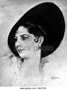 Mata Hari, 7.8.1876 - 15.10.1917, Dutch dancer and courtesan, portrait, drawing by P. Vandernem, December 1914, - Stock Image