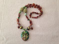 Handmade Statement Necklace. Clay, stones, copper. etsy.com/shop/Lisaville