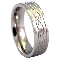 Stainless Steel Celtic Ring | Wedding Band A womens Celtic ring, perfect as a wedding ring or casual ring. Made from hypoallergenic 316L stainless steel and is safe to wear for those with sensitive skin. The womens ring has a raised Celtic relief pattern around the band. This womens Celtic ring or wedding band is 6.5mm wide with a comfort fit inner band. This wedding ring is available in rings size 6, 7.5, 8 or 9.