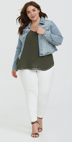 fa7a62f01ba Cropped Denim Jacket - Medium Wash. Medium Sized WomenDenim OutfitsNice  OutfitsSpring OutfitsCasual OutfitsCropped Denim JacketPlus Size ...