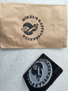 Coffee pouch stamped with my logo.