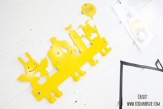 Nursery Wall Hooks / Yellow Coat Rack / Kids Hanger / Monsters