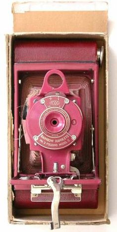 Kodak Rainbow Hawk-Eye Folding Pink/Red with Red Bellows as is +partial Box