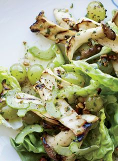 "AMANDA COHEN'S CELERY, GRILLED GRAPE & MUSHROOM SALAD ~~~ this recipe is shared with us from the restaurant, ""dirt candy"" in new york city. amanda explains that the celery's bitterness and crunch is set off by the meatiness of the oyster mushrooms and grapes that are grilled right up to the point before bursting. [Amanda Cohen] [foodandwine]"